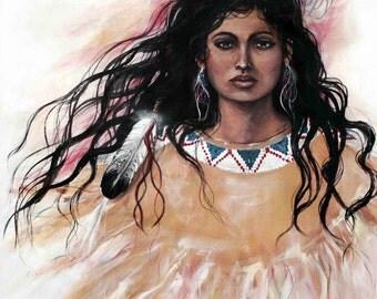 Dark Eyes, Native American, wall art, wall decor, western, painting, cowboy, print, southwest, cabin