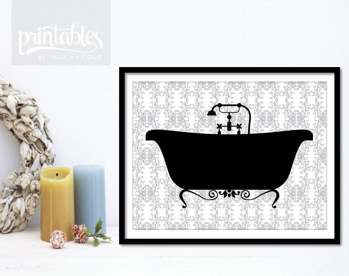 Vintage bathtub printable bathroom decor diy by printablesbytc for Bathroom decor printables