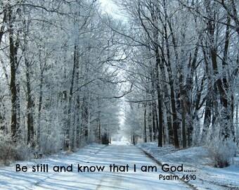 Decoupage Snow Scene Photo on Wood Barn Siding with Scripture Verse Psalm 46:10