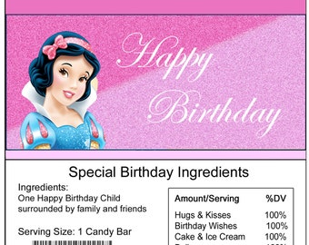 Snow White Princess birthday Candy Bar Wrapper