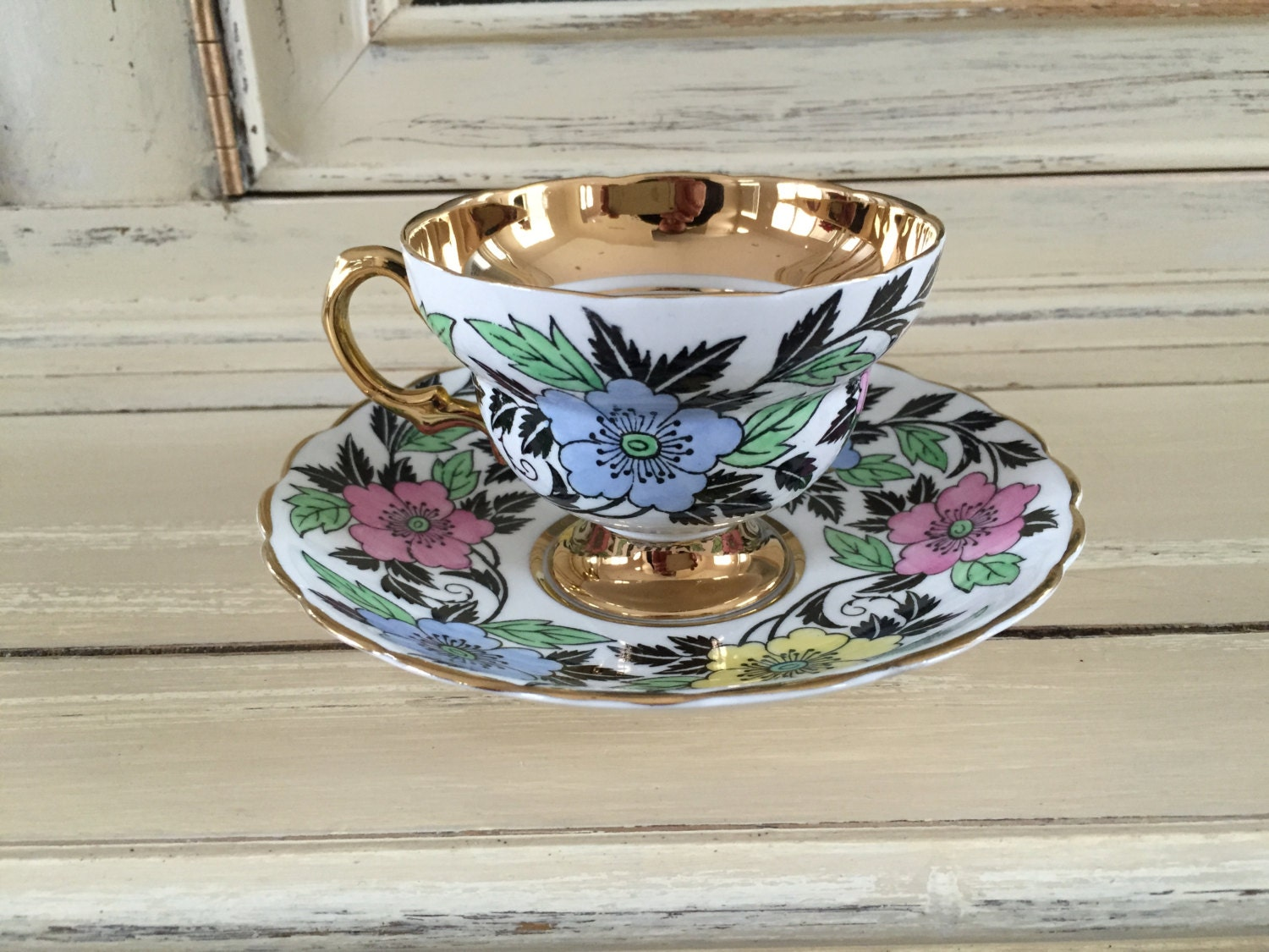 Rosina bone china tea cup saucer gold black by for Alpine cuisine fine porcelain