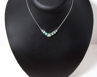 Vintage sterling silver necklace with zirgon-emeralds 4307