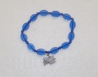Royal Blue Glass and Sterling Silver 12 Step Recovery Prayer Beads