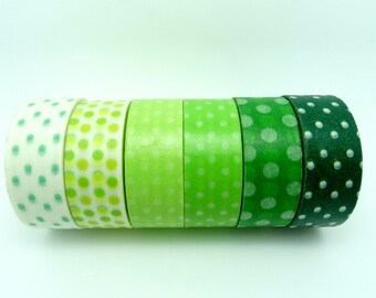 6 Rolls Green Dots Masking Tape - Japanese Washi Tape Set - DIY Deco Tape Scrapbook Embellishment Craft Tape