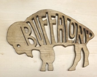Handmade Wooden Buffalo trivet decoration, Buffalo, New York