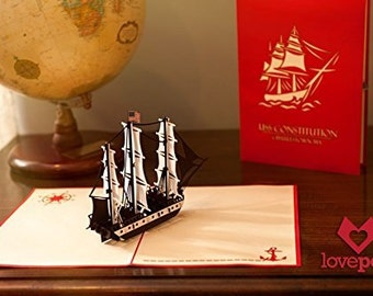 USS Constitution Pop Up Card, Birthday Card, Bday Card, USS Constitution Birthday Card, Ship Pop Up Card, Ship Bday Card, Nautical Marine