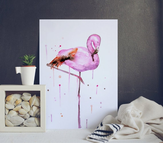 D coration dint rieur rose flamant rose affiche par watercolormary - Flamant rose decoration ...