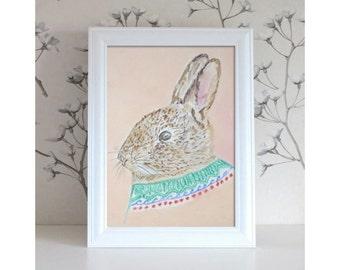 Nursery art,kids room decor, rabbit painting, watercolor animals. Bunny with jumper.