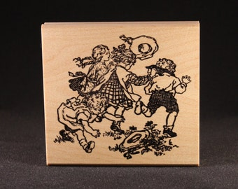 Children Playing Rubber Art Stamp