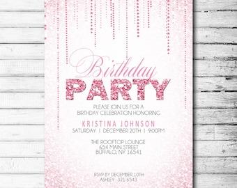 Pink Glitter Party Invitation,Retirement Invitation, Bachelorette Party, Birthday Party, Printable