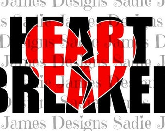 Valentine's Heart Breaker knockout SVG and Silhouette Studio cutting file, Instant Download