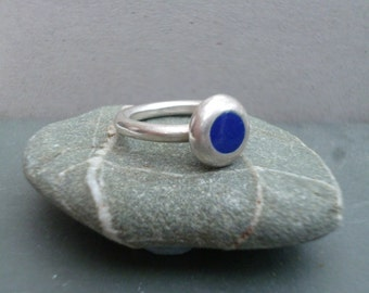 Sterling silver ring with cobalt blue enamel