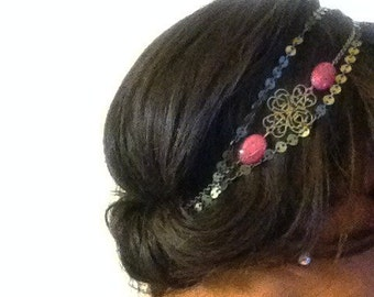 Headband head gem - stones semi precious pink agate Les Crea de Marie