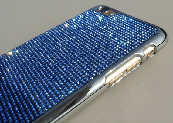 iPhone 6 Plus / iPhone 6s Plus  Blue Sapphire Crystals on Silver Chrome Case.Velvet/Silk Pouch Bag Included,Genuine Rangsee Crystal Cases