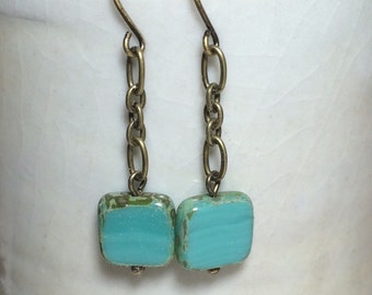 Glass Square Bead Earrings