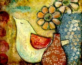 "Bird Art Print--8X8 or 10X10 Archival Print of Original Mixed Media Painting--""Love Bird""--Pam Kapchinske"