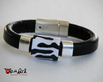 Zebra Polymer Clay Bead Bracelet with Antique Silver Tone Slider and Magnetic Clasp on Black Licorice Leather