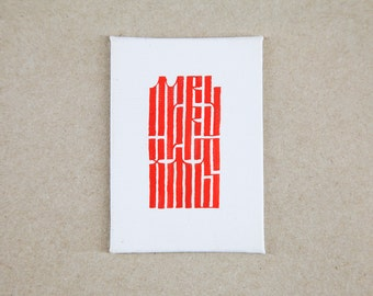 Christmas card on canvas - handmade in Cyrillic style calligraphy.