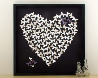 Personalised 3D Butterfly Wall Art. Perfect Wedding Gift Idea or Anniversary Gift. 3D Paper Art For A Special Personalised Gift - Framed Art