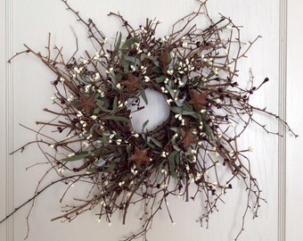 Christmas Wreath with Rusty Stars, Vine Wreath, Holiday Wreath, Winter Wreath, Pip Berry Wreath, Country Wreath, Primitive Wreath