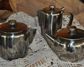 VINTAGE Old Hall brushed stainless steel jugs n pots