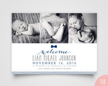 Baby Boy Bow Birth Announcement Photoshop PSD editable template with photos - Navy - Instant Download - #BPB37