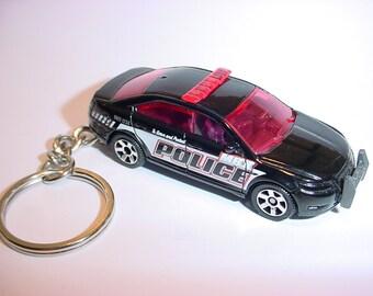 3D Ford Interceptor custom keychain by Brian Thornton keyring key chain finished in black color trim diecast metal body police 911