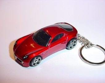 3D Alpha-Romeo 8C custom keychain by Brian Thornton keyring key chain finished in red color stock trim