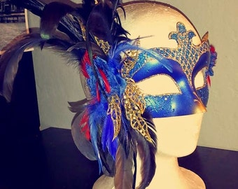 Beautiful Blue/Gold Masquerade Mask