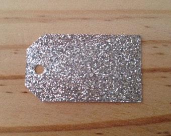 Silver Glitter Tags - Lot of 25 tags.