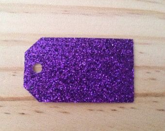 Deep Purple Glitter Tags - Lot of 50 tags.