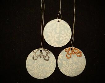 2 Sparkly Snowflake Christmas Ball Tags