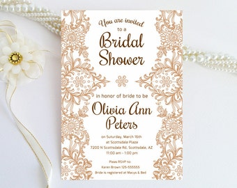 inexpensive lace bridal shower invitations brown lace weding shower printed on luxury pearlescent paper