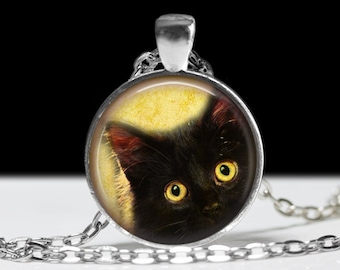 Cat Necklace Cat Jewelry Necklace Wearable Art Pendant Charm Cat Pendant Black Cat Charm Pink