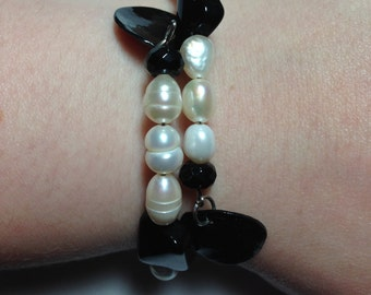 Freshwater Pearl and Black Bead Wrap Bracelet