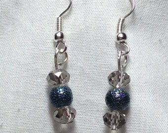 Small Smokey Blue and Silver Crystal Dangle Earrings