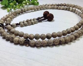 Zen counter beads,buddhist bodhi meditation juzu rosary,brown woven handmade ball tassels