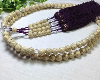 Juzu japanese traditional bodaiju buddhist prayer beads purple silk tassels,hand-made counter malas