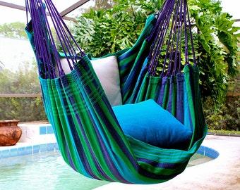 Wild Blueberry - Fine Cotton Hammock Chair, Made in Brazil