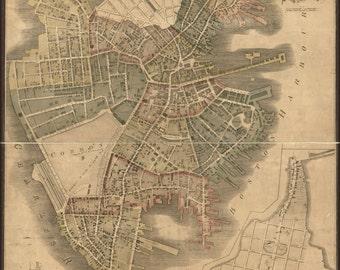 24x36 Poster; Map Of Boston, Massachusetts 1814