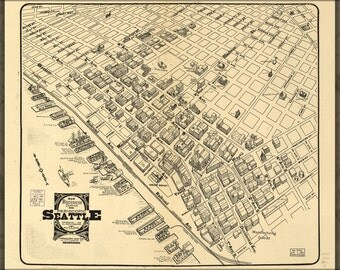 24x36 Poster; Map Of Main Business District Seattle 1903