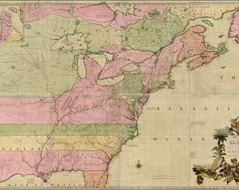 24x36 Poster; Map Of North America Pre United States 1755 P2