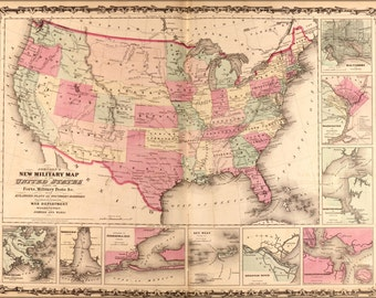 24x36 Poster; Map Of United States 1862