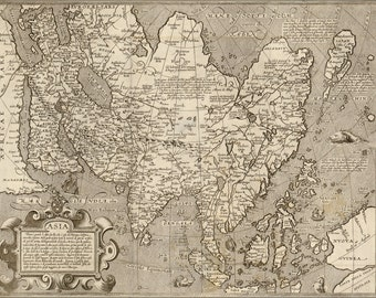 24x36 Poster; 1600 Map Of Asia; India Japan China Russia