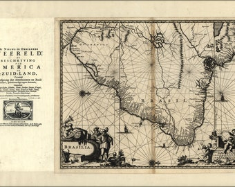 24x36 Poster; Map Of Brazil 1671