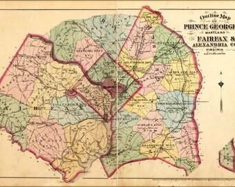 24x36 Poster; Map Of Fairfax Alexandria Washington D.C. 1878