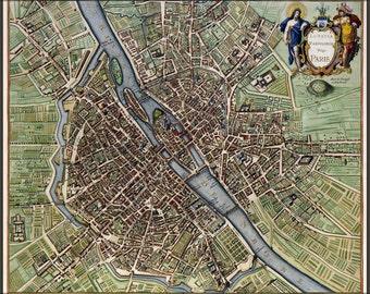 24x36 Poster; Map Of Paris France 1640S