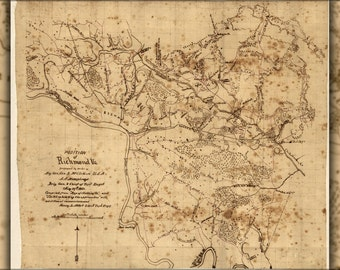 24x36 Poster; Map Of Richmond Region, Virginia 1862