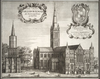 24x36 Poster; Salisbury Cathedral By Wenzel Hollar 17Th Century