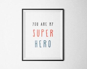 Love printable, love digital, superman printable, superhero printable, printable for him, love download, boyfriend gift, husband, for man